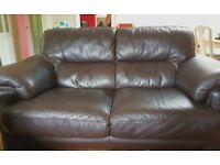 3 and 2 seater suite brown leather good condition smoke and pet free home