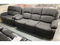 Grey fabric recliner 3 and 2 set