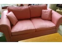 Lovely Comfy Sofa in Dark Pink Linen Fabric - bargain! £100