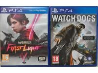 SONY PLAYSTATION 4 PS4 GAMES WATCHDOGS INFAMOUS FIRSTLIGHT WATCH DOGS FIRST LIGHT