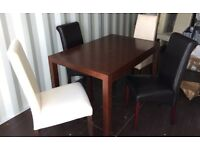 Dining Table and 4 Leather Effect Chairs