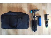 Steadicam/glidecam + mini Iphone Tripod + cellphone tripod adapter
