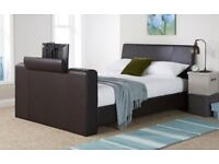 King-size brown leather TV bed