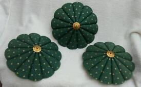 3 Lampshades Dark Green in colour with Gold Fleur Deleys.