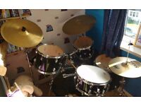 Premier Olympic black & chrome 5piece Fusion sized drum kit
