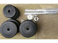 "New 8x 2.5kg and 4 x 1.5kg lonsdale weight plates and 2 x16"" bars and collars"
