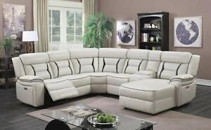 SALE SALE WAREHOUSE SALE... LEATHER GEL SECTIONAL SOFA WITH POWER RECLINER