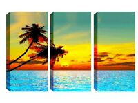 3 Panel Canvas -Gorgeous Palm Trees - Reduced from £70.00 to clear BRAND NEW