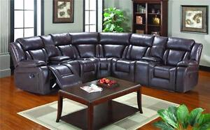 AS 2007 SECTIONAL WITH 2 RECLINER ( LEATHER GEL )