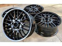 "Fully Refurbished Genuine 18"" BMW MV1 Alloy Wheels - STAGGERED - PIANO BLACK - E46, E90, 1,3 series?"