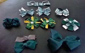 Selection of green school bobbles and bows