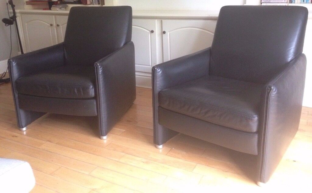 Real Leather Stylish Armchairs x 2, Black Leather