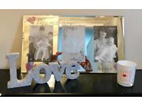 Brand New Mum Frame / Silver Love Plaque / Yankee Candle Holder