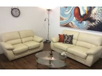 SOFAS**LIGHT CREAM LEATHER SUITE**AS NEW CONDITION**DELIVERY AVAILABLE**
