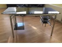 Modern Heavy Black Glass Top and Chrome Surround Office Desk