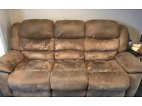 FREE!! Brown 3 seater recliner settee