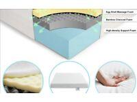 4FT6 Double Bed Medium Soft, Memory Foam Mattress, White Color, (135cm x 190cm)