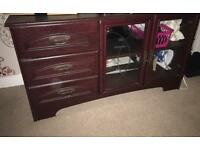 Walnut wood tv unit and display cabinet.
