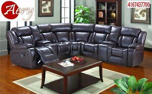 LEATHER GEL SECTIONAL SOFA WITH POWER RECLINER ON SALE CALL 4167437700