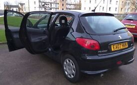 Black Peugeot 206**5 Doors**2007**2 previous lady drivers***Good Condition**