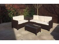 Brown Rattan garden furniture sofa set- buyer to collect £200 ono