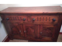 Antique Dark Wood Sideboard Cabinet in Very Good Condition