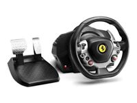 Racing wheel complete setup including seat and foot pedals