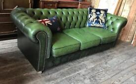 Chesterfield Green Leather Three Seater Sofa