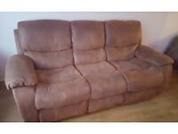 3 seater recliner sofa. Tan suede. Excellent condition