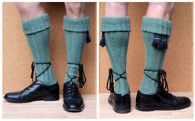 hand-knitted CREAM kilt socks size 10-11..... 3 pairs All profit for Cancer research