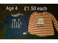 NEXT Girls tops age 3-4 & 4-5