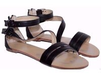 Ladies Black Zipped Gladiator Strappy Sandals Shoes. Size 4.