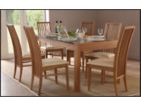 Oak effect Dinning table with 6 Chairs