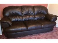 3 seater sofa, brown leather