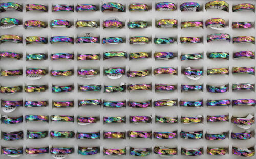 Charming Jewelry Wholesale Lots 40pcs Colorful Stainless steel Rotation Rings
