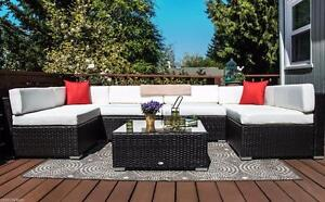 7 Pcs. Outdoor Patio PE Rattan Wicker Sofa Sectional Furniture Set / Patio Garden Furniture