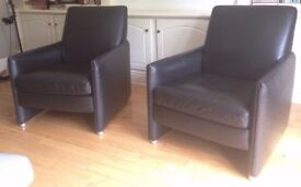 REAL LEATHER ARMCHAIR PAIR IN BLACK - MODERNIST DESIGN