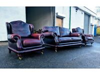 3+1+1 Thomas Lloyd antique oxblood red sofas   couch   suite DELIVERY AVAILABLE