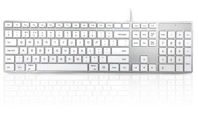 Accuratus 301 Mac USB Wired Full Size Multimedia Keyboard with White Square