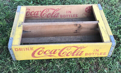 Vintage Coca Cola Wood Carrier Crate 1960's Yellow Middle Divider Dallas Texas
