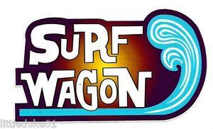 SURF WAGON Vinyl Sticker Decal Longboard KOMBI VW Panel Van Surfboard Surfing
