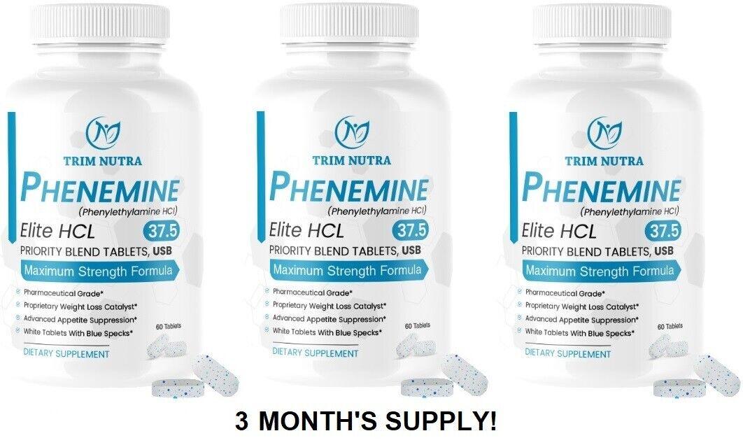 3 Months Phenemine Elite 37.5 White/Blue Tablets Slimming Diet Pills