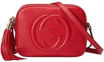 NEW GUCCI SOHO RED LEATHER SMALL DISCO CROSSBODY SHOULDER BAG