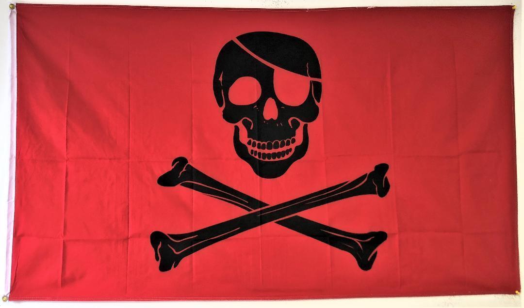 3x5 Pirate Red Blood Patch FLAG 5' x 3' Skull Skeleton Bones
