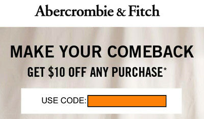CODE $10 off  any purchase Abercrombie & A&F KIDS coupon code exp 3/29/2020