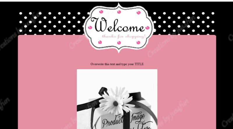 Pink White Polka Dots eBay Auction Template