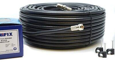 10M Meter Black RG6 Satellite Freesat Coax Cable Lead 4 Sky Plus HD TV Coaxial