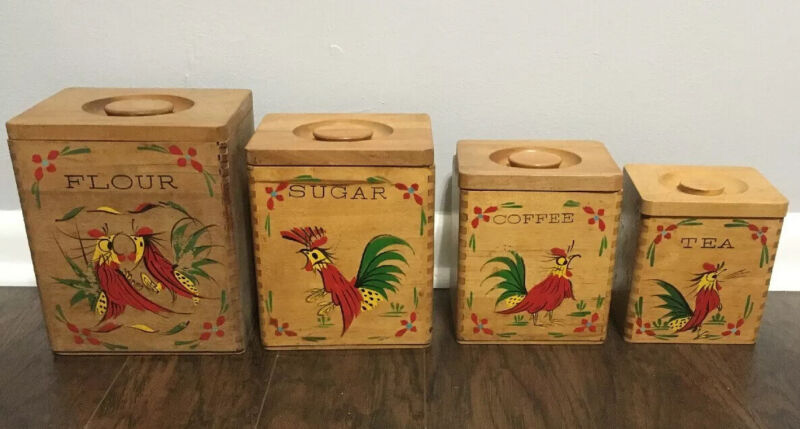 Vintage Rooster Canister Set Wooden Wood Flour Sugar Coffee Tea Dovetail