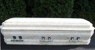 Vintage Funeral Child Casket Embossed Floral Youth Coffin Plush Interior Handles