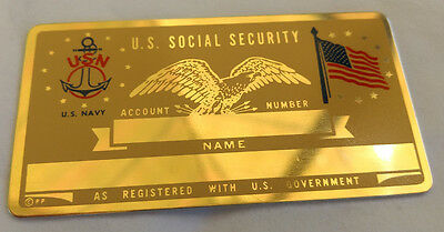 U.S. Navy US Social Security Metal Card Tag NOS VTG Perma Products​
